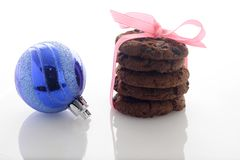 Chocolate Cookies & Christmas Balls Stock Photos