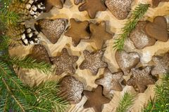 Chocolate cookies for Christmas, decor of a Christmas tree and cones royalty free stock photography