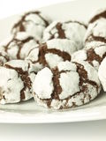 Chocolate cookies, closeup, isolated Royalty Free Stock Image