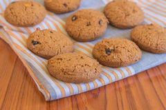 Chocolate cookies on cloth. Fresh chocolate cookies on cloth Royalty Free Stock Photo
