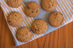 Chocolate cookies on cloth. Fresh chocolate cookies on cloth Stock Image