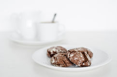 Chocolate cookies with coffee Stock Images