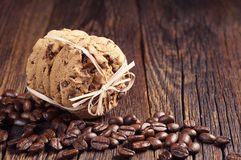 Chocolate cookies and coffee beans Stock Image