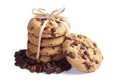 Chocolate cookies and coffee beans Royalty Free Stock Photo