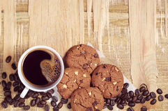 Chocolate cookies and coffee Royalty Free Stock Photo