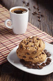 Chocolate cookies and coffee Royalty Free Stock Photography