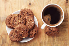 Chocolate cookies and coffee Royalty Free Stock Image