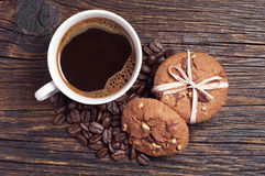 Chocolate cookies with coffee Royalty Free Stock Photo