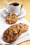 Chocolate cookies and coffee Stock Image