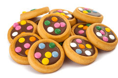 Chocolate cookies with colorful sprinkles Royalty Free Stock Photos