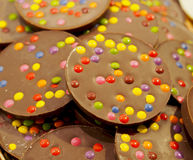 Chocolate cookies with colourful candy chips. Spain Stock Photo