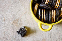 Chocolate cookies with cread Stock Image