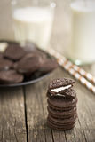 Chocolate cookies with cream and milk Stock Image