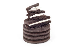 Chocolate cookies with creme filing Royalty Free Stock Photo