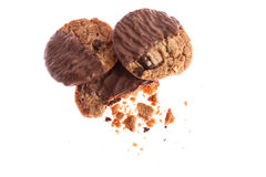 Chocolate cookies with crumbs Stock Photography