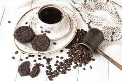 Chocolate cookies and cup of aromatic coffee Stock Photo