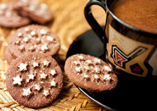 chocolate cookies and a cup of coffee Stock Image