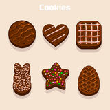 Chocolate cookies in different shapes set Royalty Free Stock Image