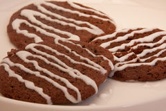 Chocolate Cookies Drizzled with Vanilla Icing Royalty Free Stock Photography