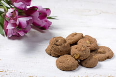 Chocolate cookies with flowers Stock Photos