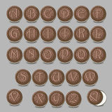 Chocolate cookies font. Artistic sweet alphabet Royalty Free Stock Photo
