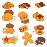 Chocolate cookies and gingerbread biscuits desserts vector icons. Cookies and biscuits desserts vector isolated icons. Gingerbread stars, man, heats and Royalty Free Stock Photos