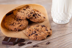 Chocolate cookies with a glass of milk Royalty Free Stock Photography
