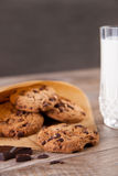 Chocolate cookies with a glass of milk Stock Photos