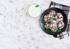Chocolate cookies and a glass of milk on white background. Top view Royalty Free Stock Photo