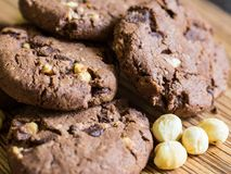 Chocolate Cookies with hazelnuts on wooden background Royalty Free Stock Photos