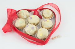 Chocolate cookies in a heart shaped box Royalty Free Stock Images