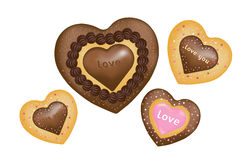 Chocolate Cookies (Hearts shape). Vector Royalty Free Stock Images