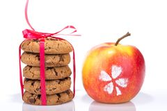 Chocolate Cookies Isolated On White With Apple Stock Photography