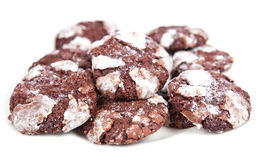 Chocolate cookies isolated on white background Royalty Free Stock Photos
