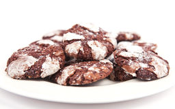 Chocolate cookies isolated on white background Stock Images