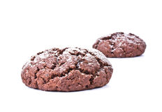 Chocolate cookies isolated on the white background Royalty Free Stock Image