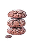 Chocolate cookies isolated on the white background Royalty Free Stock Photo