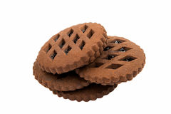 Chocolate cookies with jam Stock Photography