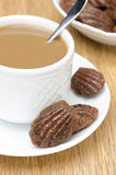 Chocolate cookies madeleine and a cup of coffee, closeup Royalty Free Stock Photos