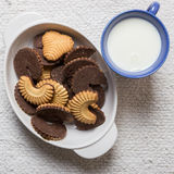 Chocolate cookies and milk Royalty Free Stock Photography