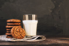 Chocolate cookies with milk Royalty Free Stock Images