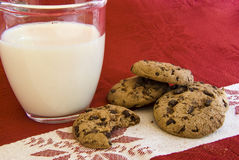 Chocolate cookies with milk glass. For santa claus royalty free stock photography