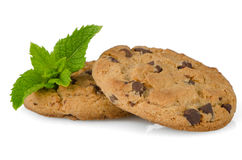Chocolate cookies with mint leaves Royalty Free Stock Photos