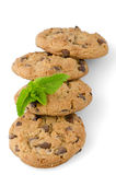Chocolate cookies with mint leaves Royalty Free Stock Photo
