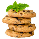 Chocolate cookies with mint leaves Royalty Free Stock Photography