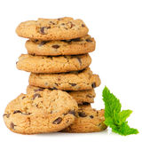 Chocolate cookies with mint leaves Stock Image