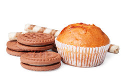 Chocolate cookies and muffin Royalty Free Stock Photography