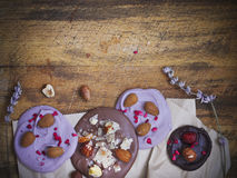 Chocolate cookies with nuts and lavender Royalty Free Stock Photography