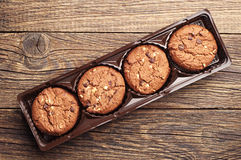 Chocolate cookies with nuts Royalty Free Stock Images