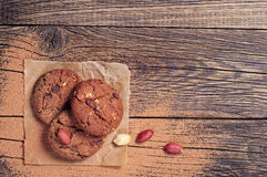 Chocolate cookies and nuts Royalty Free Stock Photo